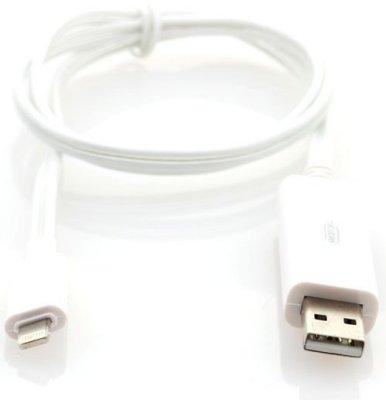 Товар почтой Кабель Apple Lightning/USB 0.8 м Gmini mCable MEL300 White(белый) с голубой подсветкой