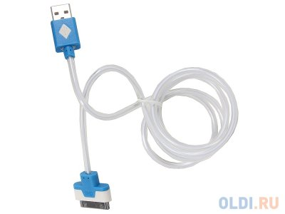 Товар почтой Кабель 3Cott 3C-CLDC-064BBL-IP4, Apple 30-pin с подсветкой холодного оттенка, 1 м, синий