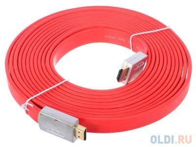 Товар почтой Кабель AOpen HDMI 19M/M 1.4V+3D/Ethernet AOpen (ACG545A_P-5M) серебряно фиолетовый Flat Top Quality