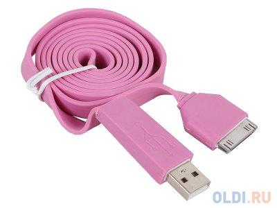 "Товар почтой Кабель Apple 30pin/USB ""LP"" для Apple iPhone/iPad плоский широкий (розовый/коробка)"