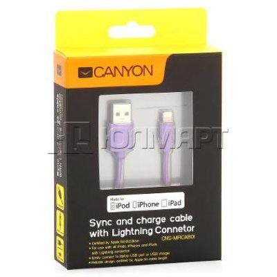 Товар почтой Кабель Apple Lightning/USB 1.0 м Canyon CNS-MFICAB01PU силиконовая оплетка фиолетовый (MFI)