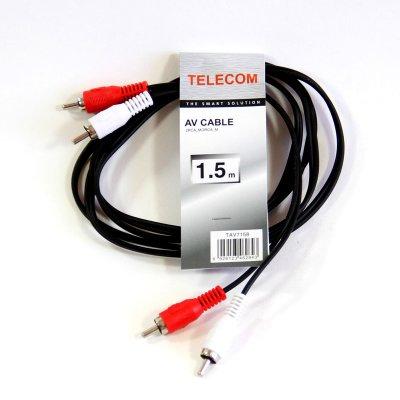 """Товар почтой Кабель 2 x RCA """"тюльпан"""", 1.5m, Telecom (TAV7158-1.5M)"""