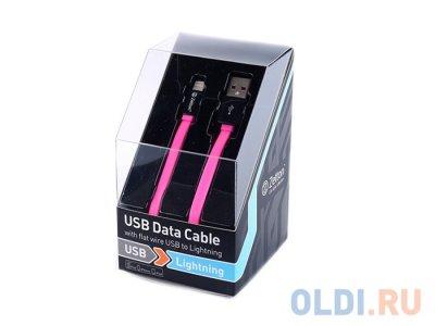 Товар почтой Кабель Apple Lightning/USB 1.0 м плоский черный с розовым (ZTLSUSBFCA8BP)