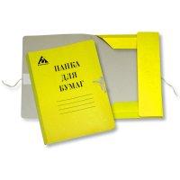 Товар почтой Папка для бумаг на завязках 0.6 мм мелованная желтая