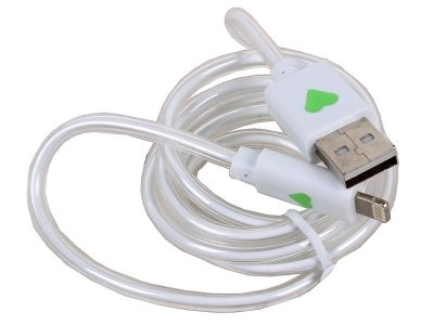 Товар почтой Кабель 3Cott 3C-CLDC-065BW-IP5, Apple Lightning MFI с подсветкой холодного оттенка, 1 м, белый