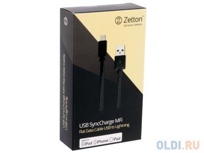 Товар почтой Кабель Apple Lightning/USB 1.0 м Zetton (MFI) плоский черный (ZTUSBMFI2A8)