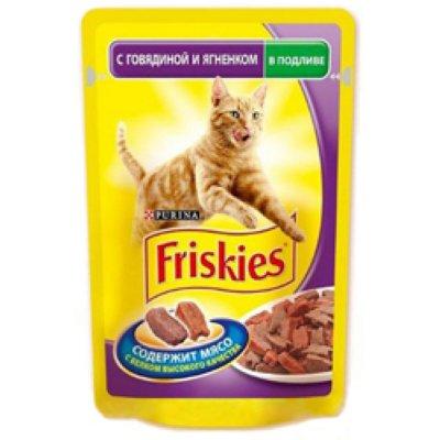 Товар почтой 0.1 кг Корм для кошек FRISKIES кусочки в подливе говядина, ягненок конс. 100 г