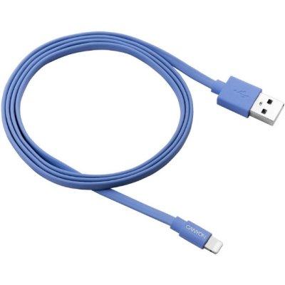 Товар почтой Кабель Apple Lightning/USB 1.0 м Canyon CNS-MFIC2BL плоский силиконовая оплетка синий (MFI)