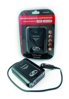 Товар почтой Автоинвертор Autovirazh AV-015200 USB (160-200 Вт) преобразователь с 12 В на 220 В