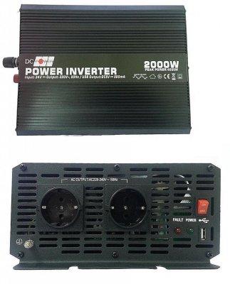 Товар почтой Автоинвертор DC Power DS-2000/24 2000W (2000 Вт) преобразователь с 24 В на 220 В