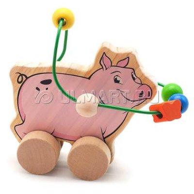 Товар почтой Игрушка деревянная МДИ Лабиринт-каталка Свинья