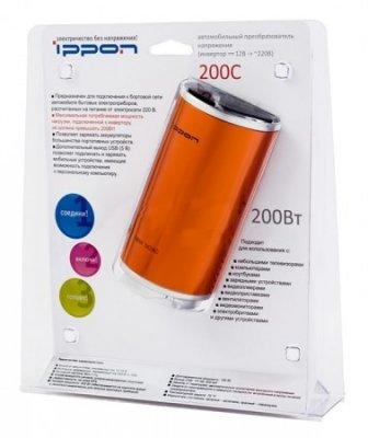 Товар почтой Автоинвертор Ippon 200C (200 Вт) преобразователь с 12 В на 220 В