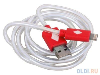 Товар почтой Кабель 3Cott 3C-LDC-065R-IP5, Apple Lightning MFI с подсветкой теплого оттенка, 1 м, красный